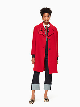 wool boucle poppy coat, charm red, medium