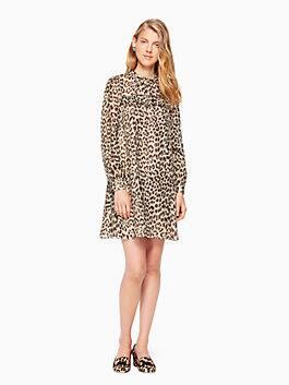 leopard-print clipped dot mini dress, classic camel, medium