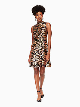 leopard-print sequin dress, classic camel, medium