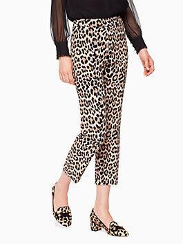 leopard-print cigarette pant, classic camel, medium