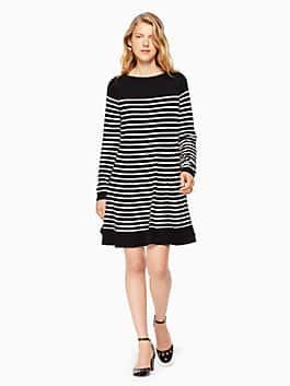stripe swing sweater dress, black/off-white, medium