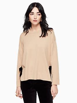 velvet tie swing sweater, adalia camel, medium