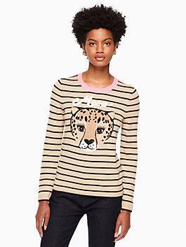 leopard stripe sweater, black/adalia camel, medium