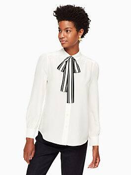 stripe tie front shirt, cream, medium
