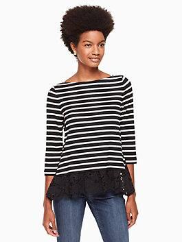 stripe mixed lace knit top, black/off-white, medium