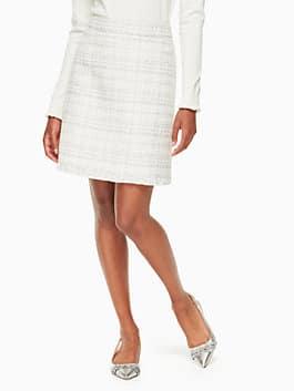 sparkle tweed skirt, cream, medium