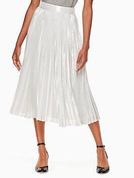 silver metallic pleated skirt, silver, medium