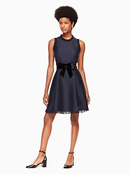 velvet bow fit and flare dress, rich navy, medium