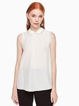crystal embellished silk shirt, cream, medium