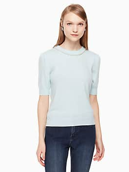 pearl embellished sweater, icy sky, medium