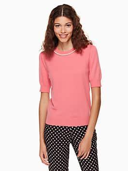 pearl embellished sweater, petunia, medium