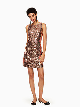 sequin bow back dress, pale rose gold, medium