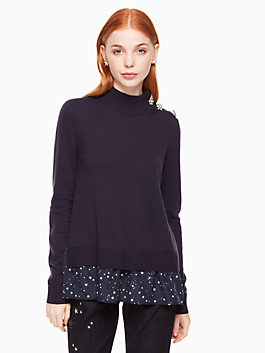 night sky mixed media sweater, rich navy, medium