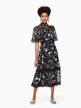 botanical chiffon midi dress, black, medium