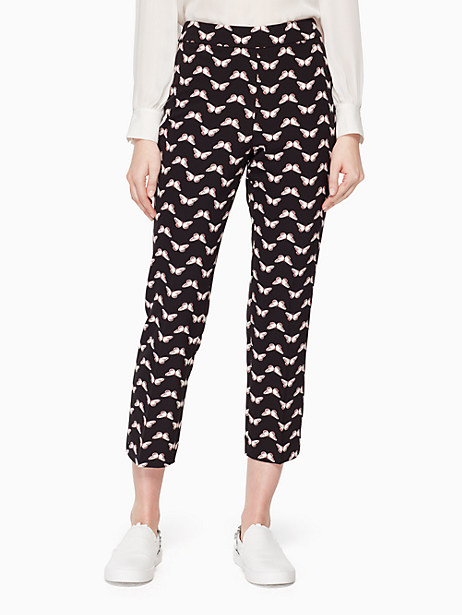 butterfly crepe pant, black, large by kate spade new york