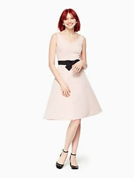 bow fit and flare dress, cameo pink, medium