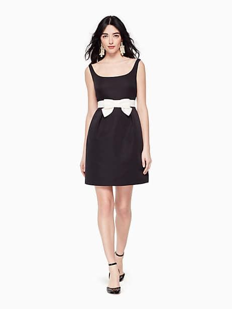bow sheath dress, black, large by kate spade new york
