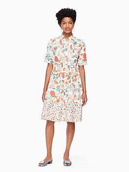 blossom poplin shirtdress, cream, medium