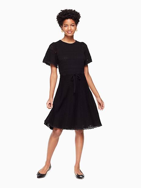 flutter sleeve sweater dress, black, large by kate spade new york