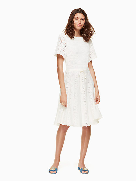 flutter sleeve sweater dress, cream, large by kate spade new york