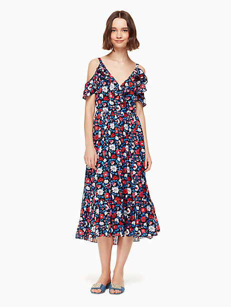 our daisy satin stripe midi dress is a fusion of some of our favorite things: delightful florals, a nautical palette, plenty of frills and a flash of tastefully bronzed shoulder. Kate Spade Daisy Satin Stripe Midi Dress, Rich Navy - 0