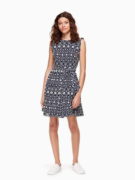 eyelet wrap dress, rich navy/fresh white, large by kate spade new york