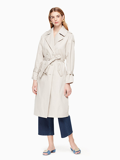 relaxed twill trench coat, flint/stone, large by kate spade new york
