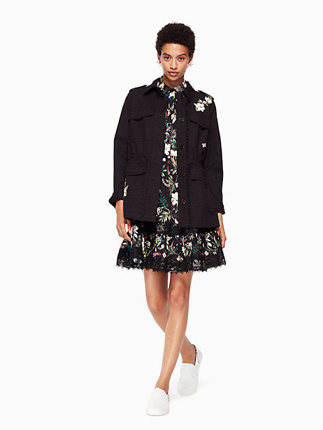 floral army jacket, black, large by kate spade new york