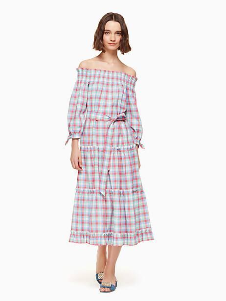 madras off shoulder dress, multi, large by kate spade new york