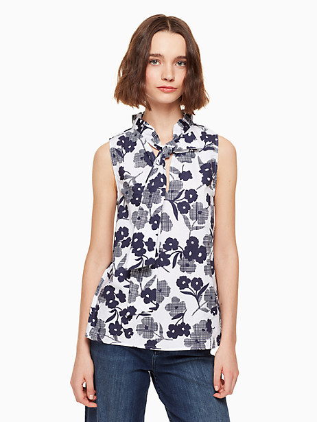 shadows poplin top, rich navy, large by kate spade new york