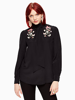 embroidered roslin bow top, black, medium