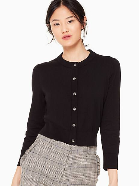 jewel button cropped cardigan, black, large by kate spade new york