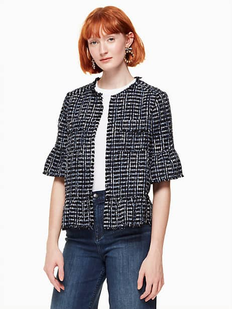 flounce sleeve tweed jacket by kate spade new york