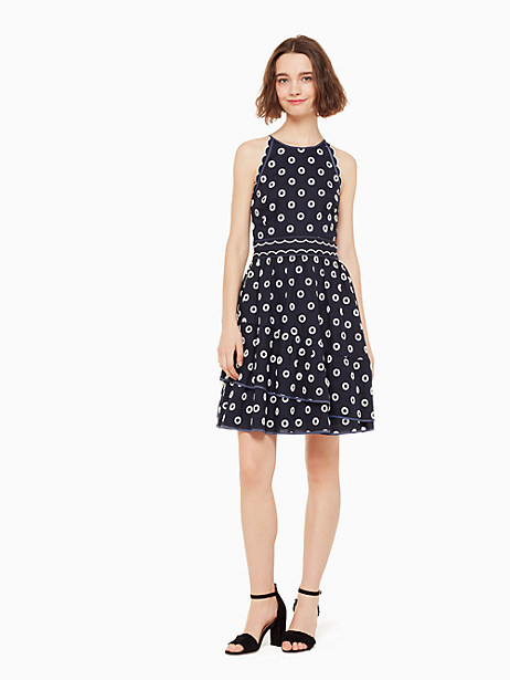 gorgeous eyelet, how we miss you in cool weather. our leslee dress is the ultimate ode to one of our favorite details. done in luxurious linen with white eyelet embroidery detail throughout, it\\\'s a stunning statement-maker for any warm-weather occasion, be it an outdoor wedding or the start of summer fridays. Kate Spade Leslee Dress, Rich Navy/Cream - 14