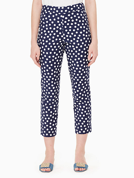 cloud dot jacquard pant, french navy/fresh white, large by kate spade new york