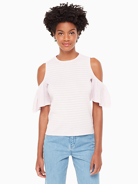 cold shoulder sweater, pink lemonade, large by kate spade new york