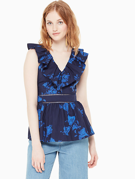 hibiscus ruffle neck top by kate spade new york