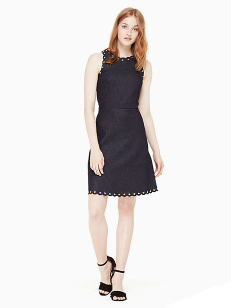 scalloped, studded and nipped at the waist, the a-line silhouette of our indigo dress is endlessly feminine and flattering, but the overall effect is actually quite casual. it pairs perfectly with trainers, but never met a sandal it didn\\\'t like. Kate Spade Denim A-Line Dress, Indigo - 14