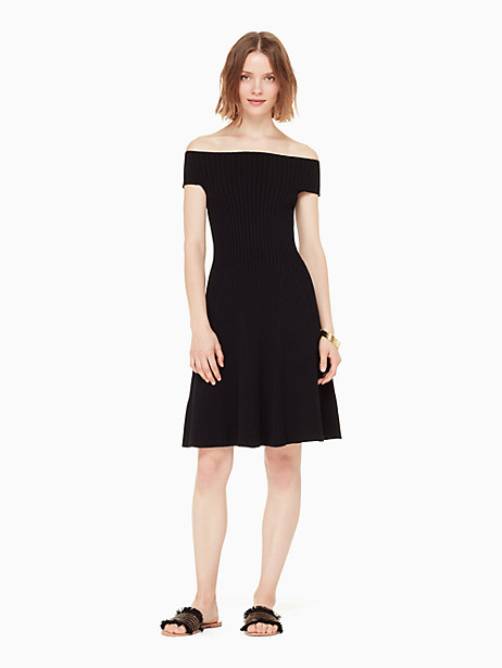 constructed in a lightweight ribbed sweater knit, with off the shoulder sleeves and a figure skimming silhouette, our off the shoulder sweater dress is a summer wardrobe essential. it pairs with trainers and a jean jacket for a casual weekend stroll, or dresses up with heels and statement earrings when fancier occasions call. Kate Spade Off The Shoulder Sweater Dress, Black - XL