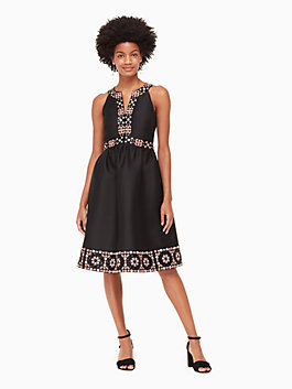 mosaic embellished midi dress, black, medium
