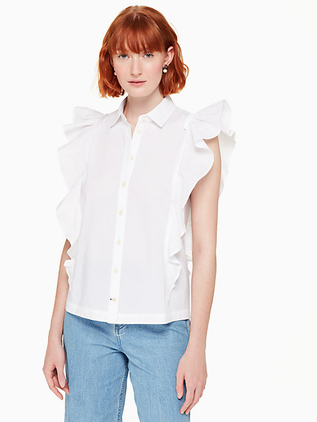 flutter button down top, fresh white, large by kate spade new york