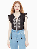 mosaic embroidered tassel top, , s7productThumbnail