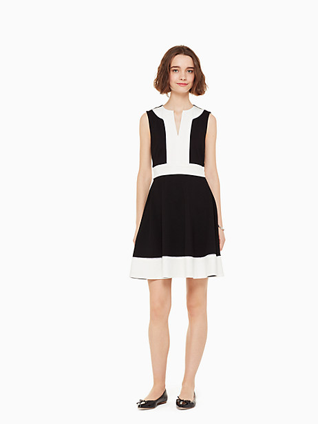 with its flattering a-line shape and black and white colorblocking, this is a quintessential cocktail dress with just the right amount of edge. Kate Spade Colorblock Ponte Dress, Black - 14