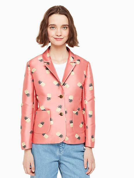 pineapple jacquard jacket, apricot sorbet, large by kate spade new york