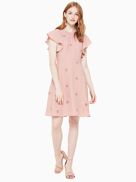 cutout crepe dress, faded peony, large by kate spade new york