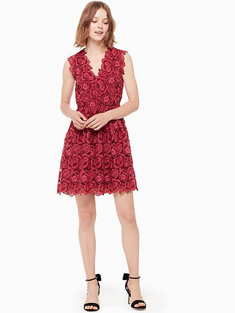 bicolor lace dress, begonia bloom/deep russet, large by kate spade new york