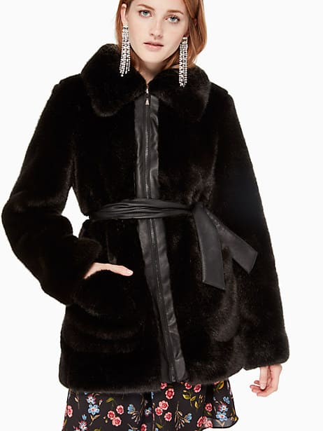 faux fur leather trim coat, black, large by kate spade new york