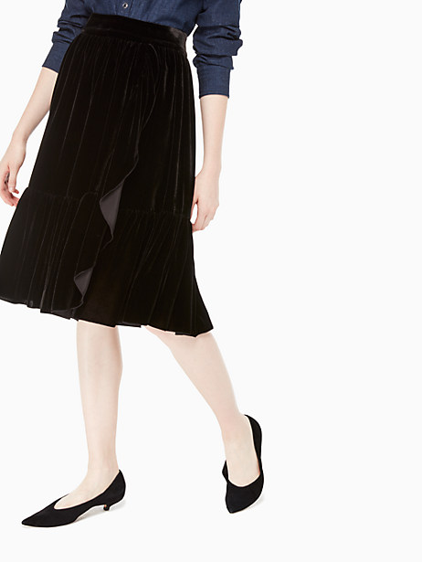 ruffle front velvet skirt, black, large by kate spade new york