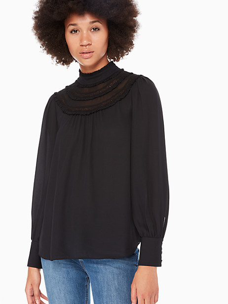 lace trim long sleeve top by kate spade new york