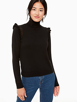 ruffle turtleneck sweater, black, medium